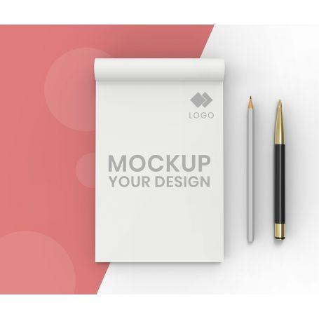 Block Notes A6 incollati in testa, 50 fogli, personalizzati con il tuo logo