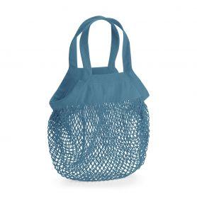 Mini shopper in organic cotton, with mesh and decorative panel