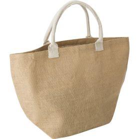 Jute shopping bag, cotton handles. 33 x 52 x 17 cm.
