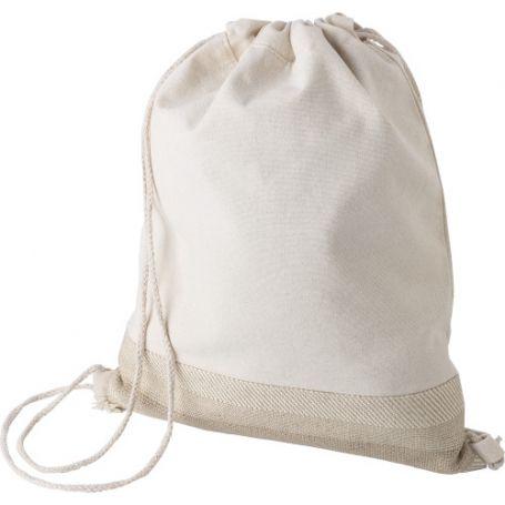 Cotton and jute bag backpack, drawstring closure