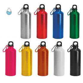 PROMO STOCK! 120 Aluminum 500ml water bottle with carabiner, customized with your logo!