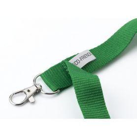 Lanyard RPET. Eco-Friendly collar lace, plastic clip, metal hook.