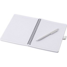 A5-size spiral antibacterial notebook/notes, with blue refill pen, 70 striped sheets