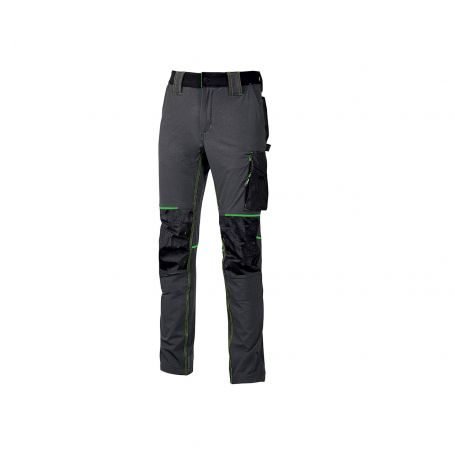 Long work pants. Atom model. U-Power 4 way stretch. ASPHALT GREY GREEN