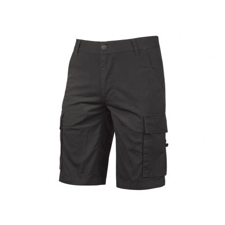 Bermuda Cargo trousers in stretch cotton canvas. Summer model. U-Power. BLACK CARBON, NEW YEAR