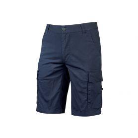 Pantalon Bermuda Cargo en toile de coton extensible. Modèle Summer. U-Power. BLEU WESTLAKE
