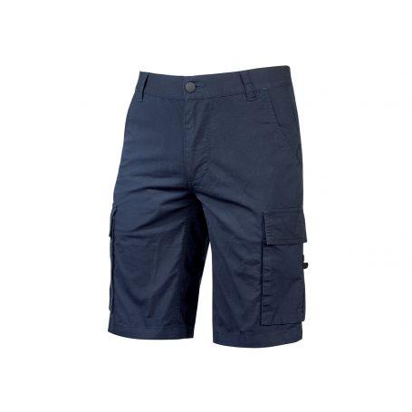 Bermuda Cargo trousers in stretch cotton canvas. Summer model. U-Power. WESTLAKE BLUE