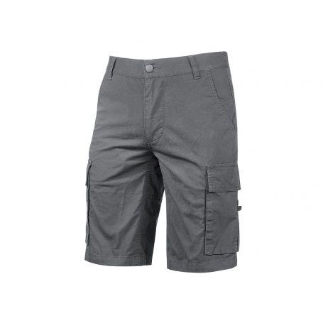 Bermuda Cargo trousers in stretch cotton canvas. Summer model. U-Power. GREY IRON