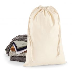 Cotton bag with double drawstring closure. 40 x 61.5 cm - Natural