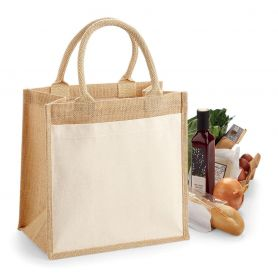 Multipurpose shopper in Jute. 30 x 30 x 19 cm with front pocket