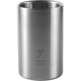 Glass for wine with cooling cavity, in stainless steel