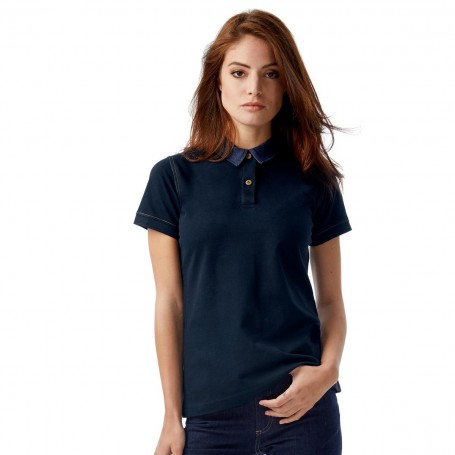 Polo-Forward Woman collar denim Short Sleeve B&C