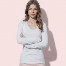 T-Shirt de Claire de V-Cou à Manches Longues des Femmes à Manches Longues Stedman