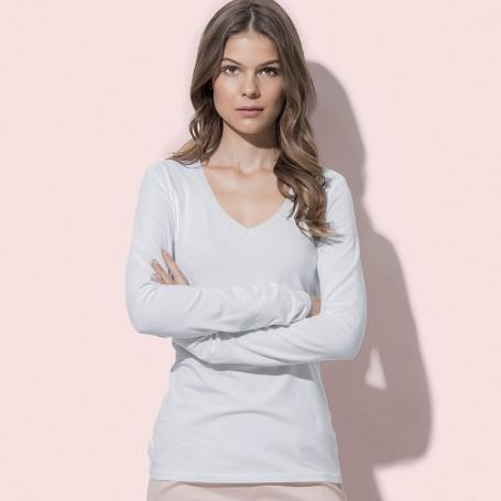 T-Shirt Claire V-Neck Long Sleeve Donna Manica Lunga Stedman
