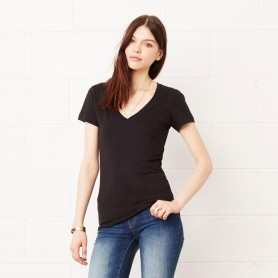 T-Shirt Jersey Short Sleeve Deep V-Neck Tee Women's V-neck Bella + Canvas