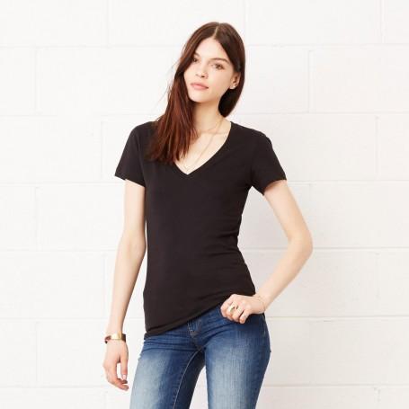 T-Shirt en Jersey à Manches Courtes Deep V-Neck Tee Femme col V Bella + Canvas
