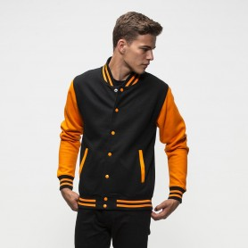 Felpa Varsity Jacket College bicolore con bottoni Unisex Just Hoods'