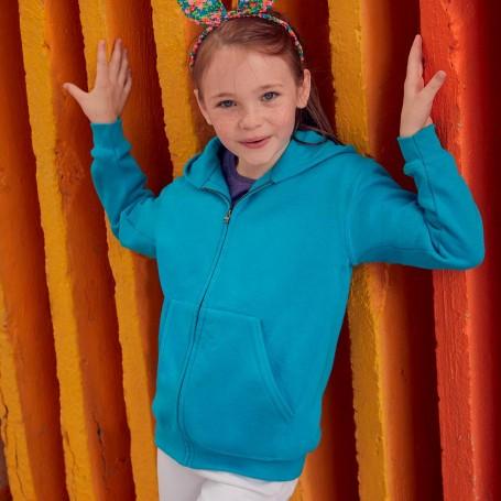 Felpa Kids Classic Hooded Sweat Jacket Zip e Cappuccio Bambino Fruit Of The Loom