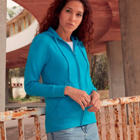 Sweatshirt Lightweight Hooded Sweat Jacket with Zip and Hood Women's Fruit Of The Loom