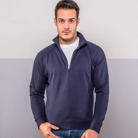 Sweat-shirt à Demi-Zip Raglan Zip neck sweat Brossé 70/30 Unisexe Araignée Noire