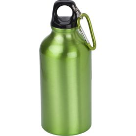 Water bottle Eco Aluminum 400ml with screw cap and carabiner clip