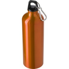 Water bottle Aluminium 750ml with screw cap and carabiner clip