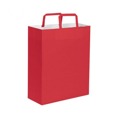 Shopping Bag 26 x 39 x 14 cm envelope colored paper flat handle, Size M