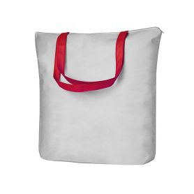 Shopper/Bag 43x40,5x11cm in TNT with zip closure and long handles White Heracles