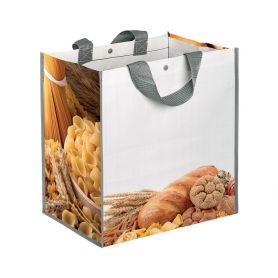 "Borsa Shopping Spesa 35x34,5x22cm ""Pane e Pasta"" in Polipropilene"