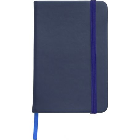Notebook/Notes in PU 21 x 14 cm with elastic and striped interior. Customizable with your logo!