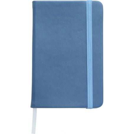 Notebook/Notes in PU 9 x 14 cm with elastic and striped interior. Customizable with your logo!