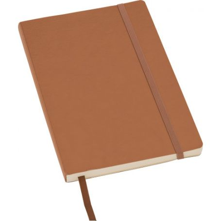 Notebook/Notes in PU 14 x 21 cm with elastic and striped interior. Customizable with your logo!