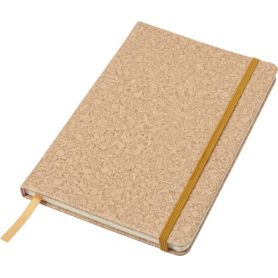 Notebook/Notes in PU and Cork 14 x 21 cm with elastic and striped interior. Customizable with your logo!