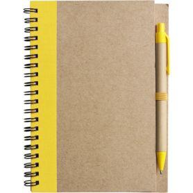 Notes/Carnet jaune 13 x 17 cm en papier recyclé avec un stylo. Personnalisable avec votre logo