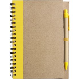 Notes/Notebook yellow 13 x 17 cm in recycled paper with a pen. Customizable with your logo
