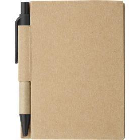 Notes/Taccuino nero in cartone 9 x 11 cm con penna e pagine a righe. Personalizzabile con il tuo logo!