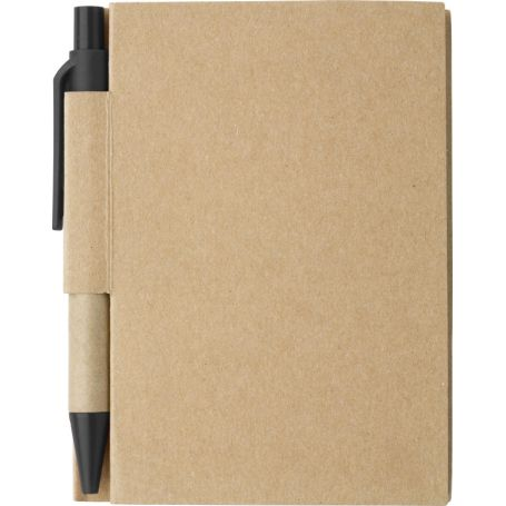 Notes/black Notebook in carton 9 x 11 cm, with a pen and pages in rows. Customizable with your logo!