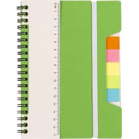 Notes/Notebook with memo stick, ruler, and elastic. Customizable with your logo!