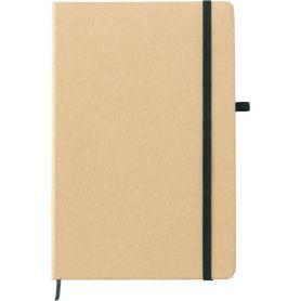Notes/Taccuino nero in carta minerale 14 x 21 cm con elastico. Personalizzabile con il tuo logo!