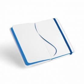 Notes/Notebook, 9 x 14 cm) in a Midi Hardcover White with elasticated waistband and white paper. Customizable with your logo!