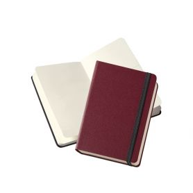 Notes/Taccuino bordeaux 9 x 14 cm pagine neutre, con elastico. Personalizzabile con il tuo logo!
