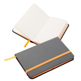Notes/Notebook 14 x 9 cm imitation leather black. Customizable with your logo