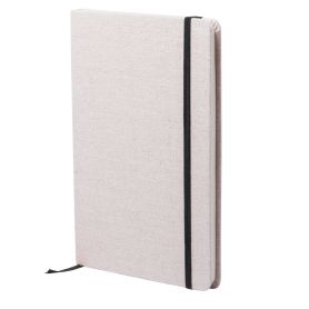 Notes/Notebook 14 x 21 cm, with cover in cotton and white pages. Customizable with your logo