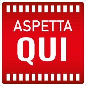 """Cartello adesivo """"ASPETTA QUI"""". (quadrato/rosso) Avviso di sicurezza emergenza sanitaria."""