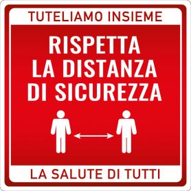 """Sign sticker """"RESPECT THE DISTANCE"""". (square/red) Alert safety health emergency."""