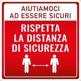 """Cartello adesivo """"DISTANZA DI SICUREZZA - AIUTIAMOCI"""". (quadrato/rosso) Avviso di sicurezza emergenza sanitaria."""