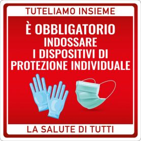 """Cartello adesivo """"AVVISO DISPOSITIVI DI PROTEZIONE"""". (quadrato/rosso) Avviso di sicurezza emergenza sanitaria."""