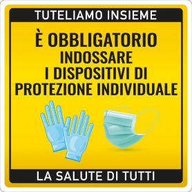 """Sign sticker WARNING """"PROTECTION DEVICES"""". (square/yellow) Alert safety health emergency."""