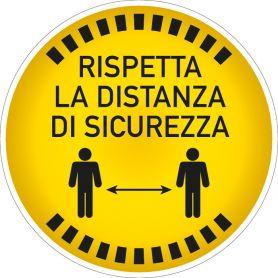 """Cartello adesivo """"RISPETTA LA DISTANZA DI SICUREZZA"""". (tondo/giallo) Avviso di sicurezza emergenza sanitaria."""