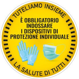 """Sign sticker """"OBLIGATION, INDIVIDUAL PROTECTION mechanisms"""" (round/yellow). Alert safety health emergency."""